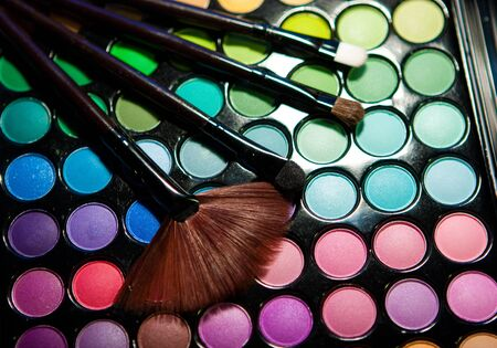 Makeup set. Professional multicolor eyeshadow palette photo