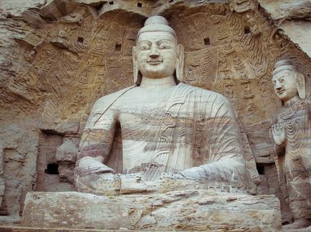 中国、山西省: 石雲崗石窟の彫刻