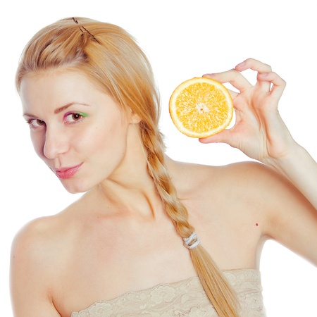 Young woman with oranges in her hands  Stock Photo - 9382697