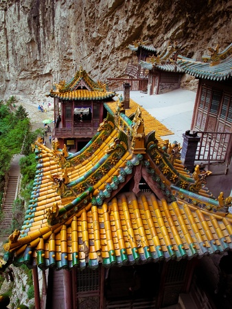 wheater: Colgando templo cerca de Datong (China)