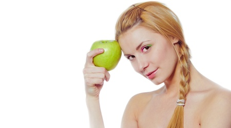 specialization: portrait of  young woman with green apple isolated on white