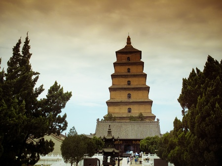 Giant Wild Goose Pagoda - Buddhist pagoda in Xian, China.  photo