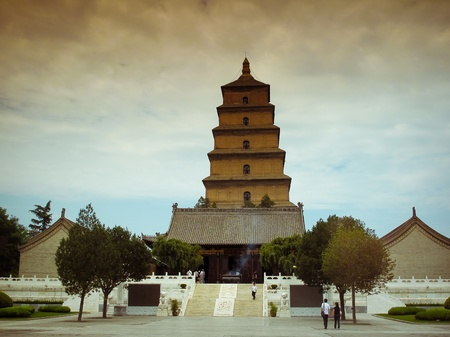 Giant Wild Goose Pagoda - Buddhist pagoda in Xian, China.  Stock Photo
