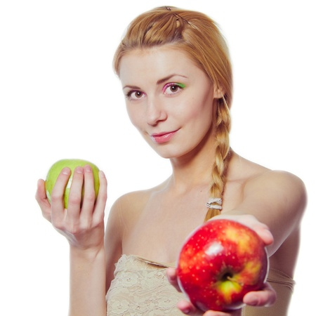 woman with green and red apple isolated on white photo
