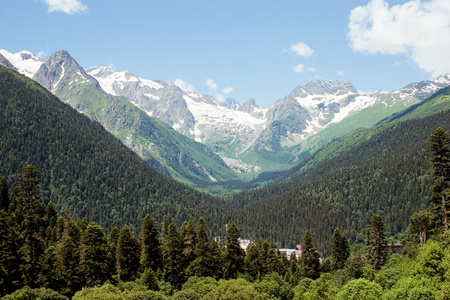 snow capped: Caucasus Mountains, Dombai Stock Photo