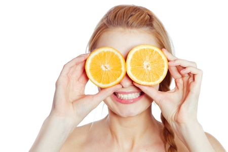 Young woman with oranges in her hands  photo