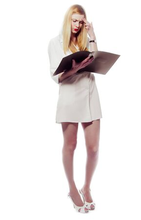 sexy female doctor: Sexy woman in medical white uniform with red lips