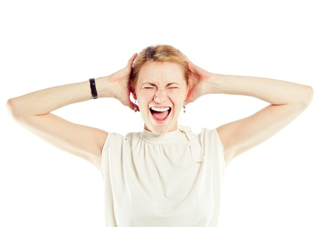 freaking: Stressed and freaking out woman  Stock Photo