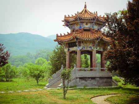 buddhist temple: Shaolin Temple in Dengfeng of Henan Province, China. Stock Photo