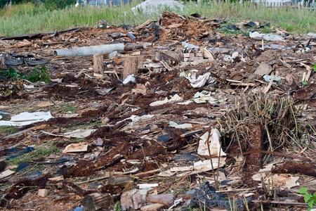 破壊された建物の残骸の山