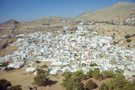 Panoramic view of Lindos Rhodes Island, Greece  photo