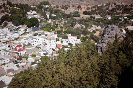 Panoramic view of Lindos Rhodes Island, Greece  photo
