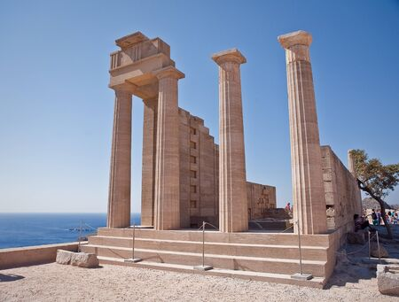 Ancient temple of Apollo at Lindos, Rhodes island, Greece photo