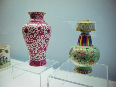 Ancient Chinese vase inside the biggest museum in Shanghai  photo