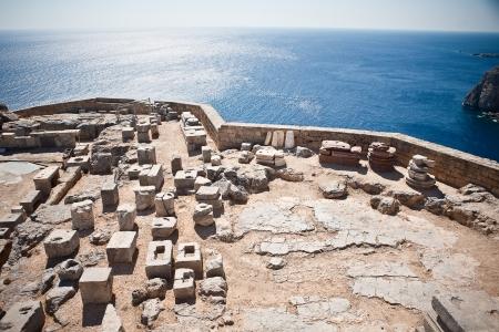 lindos:  Ancient temple of Apollo at Lindos, Rhodes island, Greece