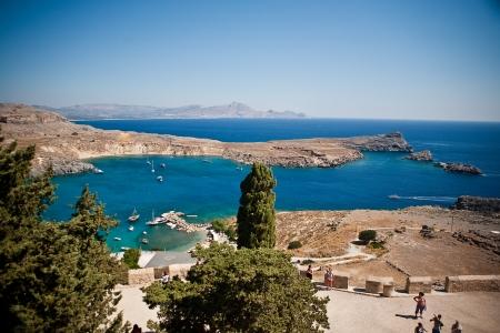 ギリシャの島々 - ロードス, リンドス湾 写真素材