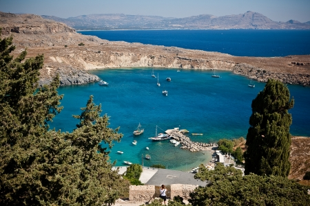 Greek islands - Rhodes, Lindos bay  Stock Photo - 15369975