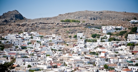 Aerial view of the town of Lindos, Rhodes Island, Greece  Stock Photo - 15364753
