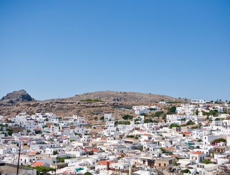 Aerial view of the town of Lindos, Rhodes Island, Greece  photo
