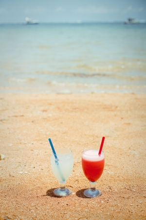 Pair of fruit shakes on the tropical beach Stock Photo - 17064249