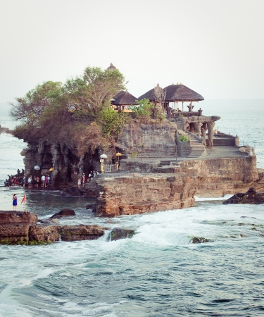 Tanah Lot Temple on Sea in Bali Island Indonesia Stock Photo - 16743395