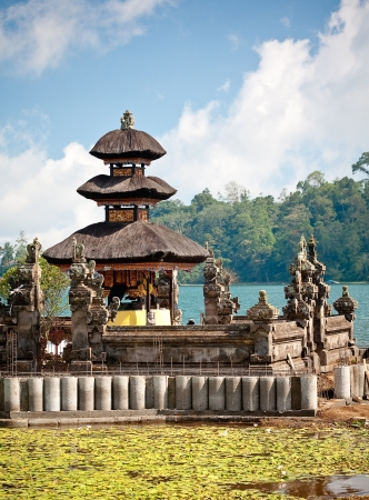 Ulun Danu temple Beratan Lake in Bali Indonesia photo