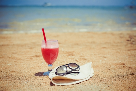 Bocal of fruity cocktail on a beach Stock Photo - 17259162