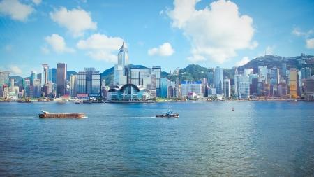 香港ビクトリア ・ ハーバーのスカイライン 報道画像