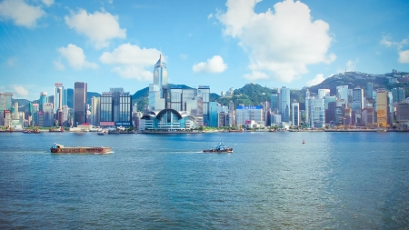 Hongkong skyline in victoria harbour