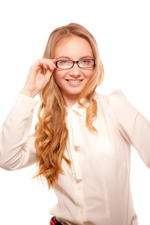 fresh graduate: Smiling business woman  Stock Photo