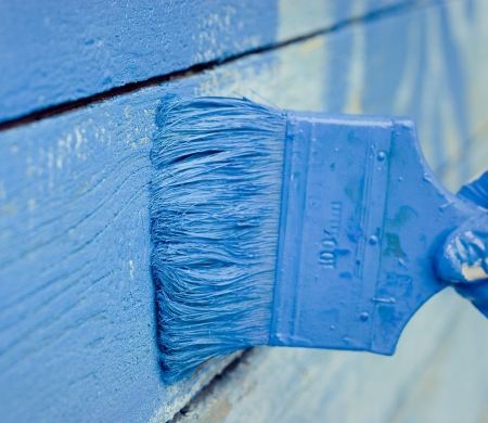 hand painting blue wooden wall photo