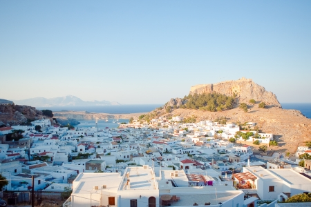 lindos: view of the town of Lindos, Rhodes Island, Greece Stock Photo