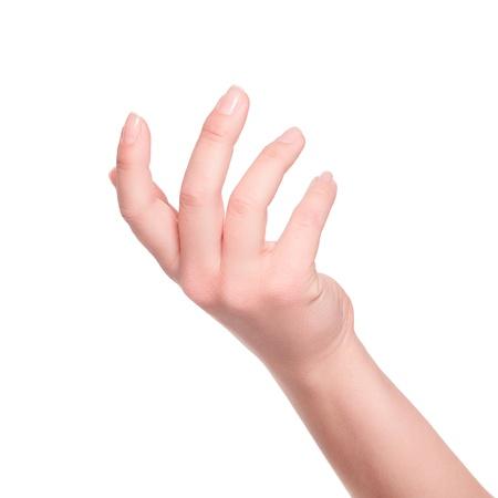 Main de femme sur fond blanc Banque d'images - 21171993