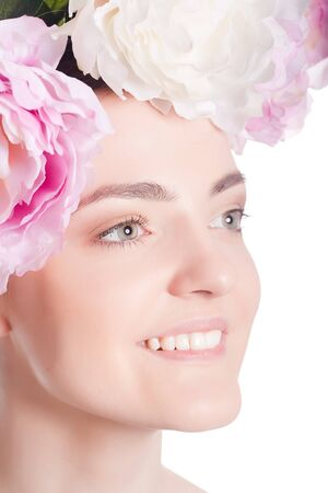 Beautiful woman with pink flowers  Stock Photo - 21235224