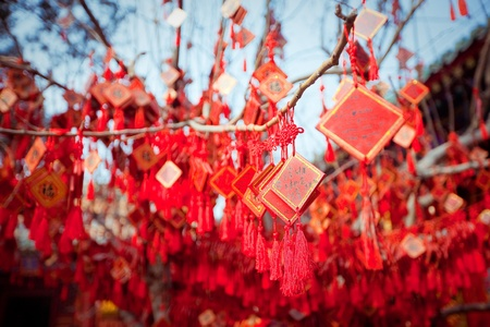 wish cards in a Buddhist temple in Beijing, China Stock Photo