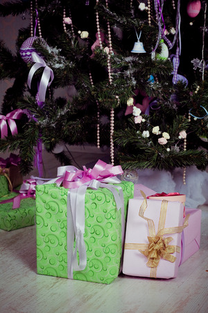 Christmas presents under the tree photo