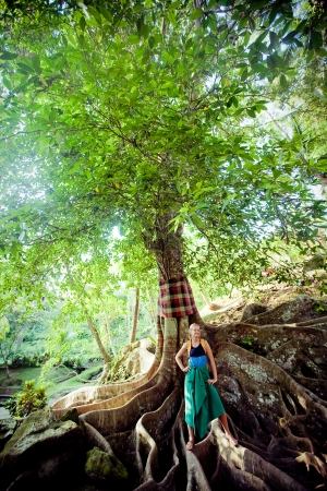 Young woman standing on the tree roots  in Bali island photo