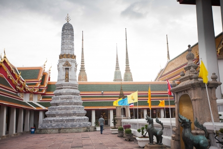 Authentic Thai Architecture in Wat Pho at Bangkok, Thailand photo
