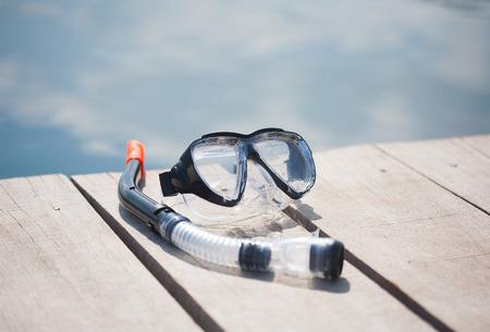 snorkle: snorkel equipment in front of water on resort Stock Photo
