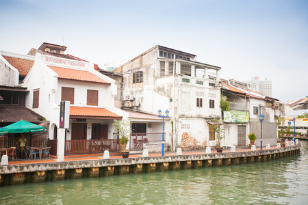 Malacca city with house near river under blue sky, Malaysia