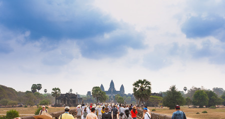 Famous Angkor Wat temple complex near Siem Reap, Cambodia.
