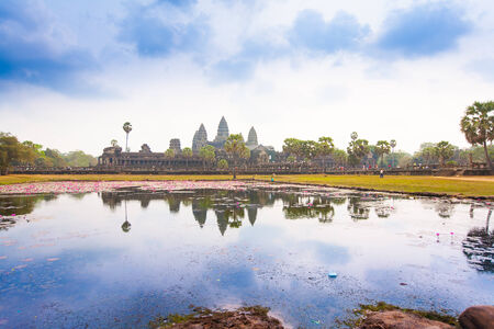 Famous Angkor Wat temple complex near Siem Reap, Cambodia. photo