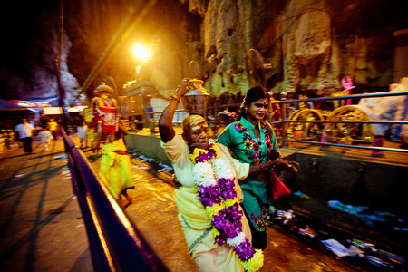 kavadi: BATU CAVES, MALAYSIA - JAN 18 2014 : Thaipusam at Batu Caves temple, Malaysia on January 18, 2014. Thaipusam is a Hindu festival on the full moon in the Tamil month of Thai.