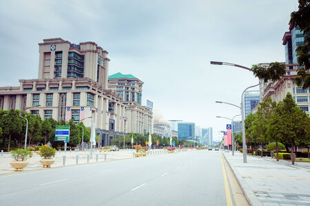 Empty City Street in Hot Summer weather, Malaysia photo