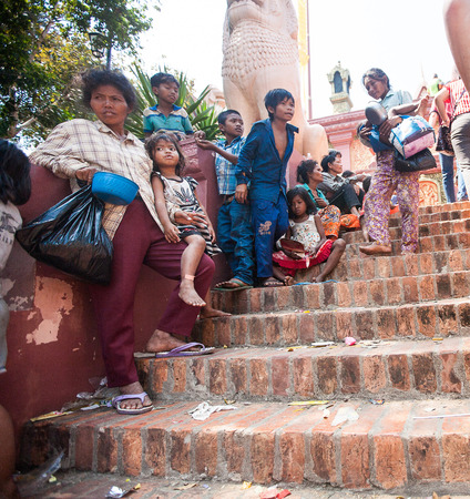 homeless people: Dirty homeless people in Phnom Penh, Cambodia Editorial