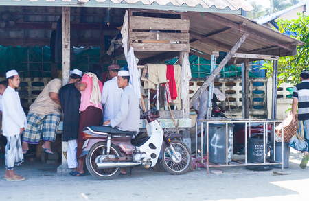 3 JAN 2014  THAILAND, Koh Samui. People in Muslim fisherman village, Samui island, Thailand 3 of January