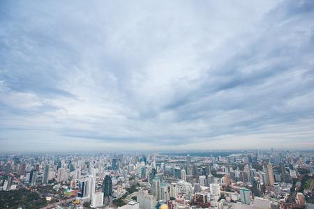 air view: Air view of Bangkok city at night Stock Photo