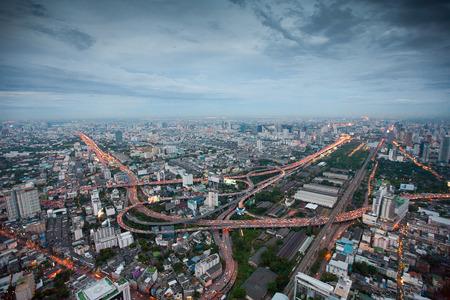 air view: Air view of Bangkok city at night Editorial