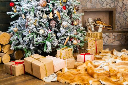 christmas tree presents: Presents under the Decorated Christmas tree. Happy new year!