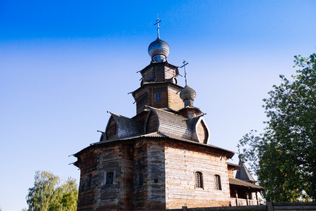 A sample of Russian wooden architecture. Temple Museum in Suzdal. Travel in Russia. Architectural monuments.